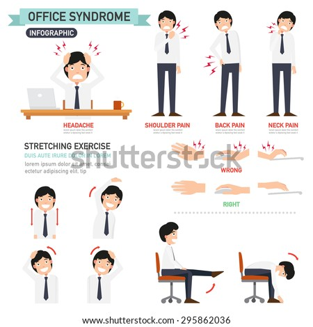 office syndrome infographic,vector illustration - stock vector