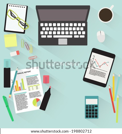 Office table flat vector with shadow upper view - stock vector