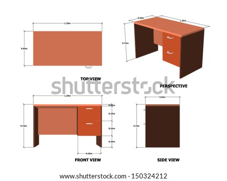Office Table Plan Front Side Perspective View With Dimension - stock vector