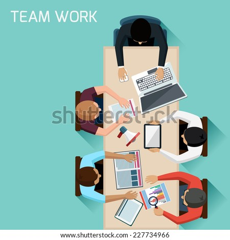 Office teamwork workers business management meeting and brainstorming on square table in top view flat design cartoon style - stock vector