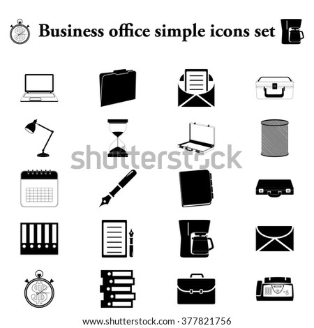 Office tools business 20 simple icon on colorful round background - stock vector