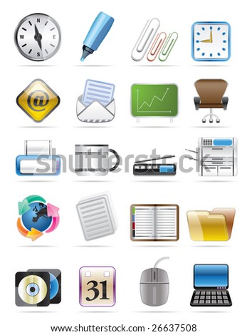 Office tools vector icon set 2 - stock vector
