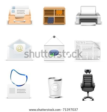 office vector icon set - stock vector