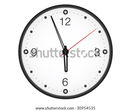 Office wall clock. High-detailed vector artwork. - stock vector