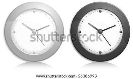 Office wall clock, metallic grey and black on white background, vector illustration