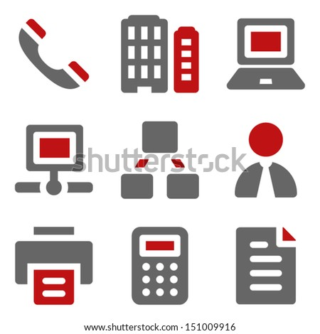 Office web icons, dark red and grey - stock vector