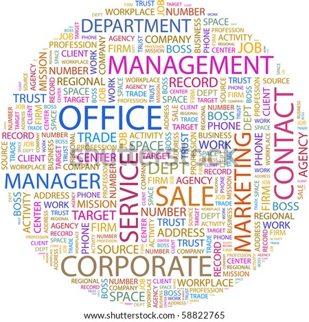 OFFICE. Word collage on white background. Illustration with different association terms.