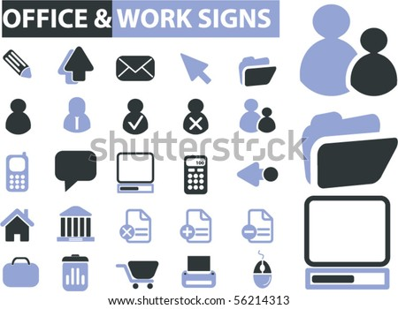 office & work signs. vector - stock vector
