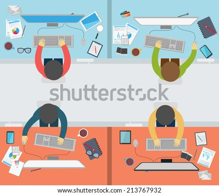 Office worker activity on flat style - stock vector