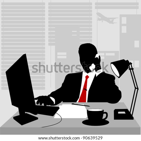 Office worker asleep at his desk; adult; - stock vector