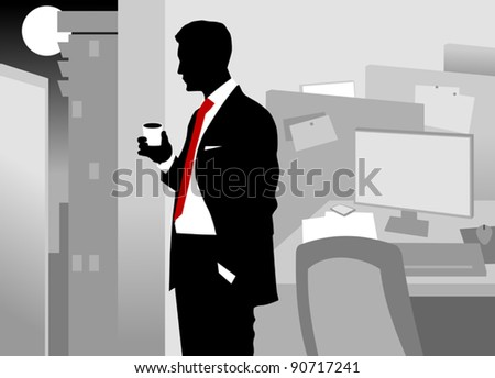 Office worker asleep at his desk (vector-illustration); - stock vector