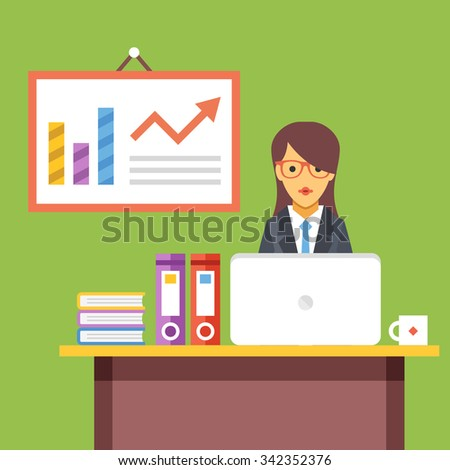 Office worker at work. Woman sitting at the desktop with laptop. Office interior. Long work hours. Modern flat design concept for web banners, web sites, infographic. Flat vector illustration