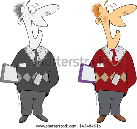 Office worker cartoon - stock vector