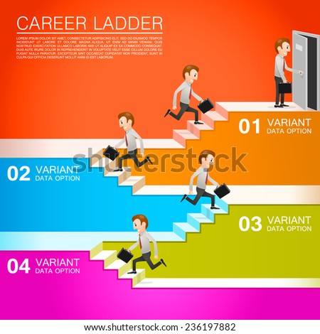 office worker climbs the career. Vector illustration - stock vector