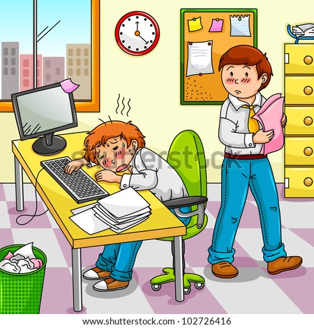office worker feeling ill or exhausted with his colleague standing next to him - stock vector