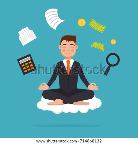 meditation businessman office. office worker meditating sitting in lotus pose businessman meditation and multitasking concept vector