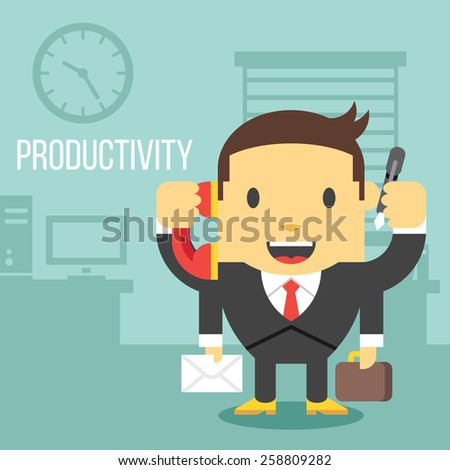 Office worker with four hands. Workers productivity concept. Creative office background. Flat style design vector illustration. - stock vector
