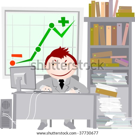 office workers - stock vector