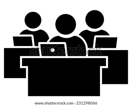 Office workers at workplace icon - stock vector