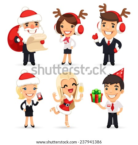 Office Workers Celebrating the New Year. Isolated on White Background. In the EPS file, each element is grouped separately. - stock vector