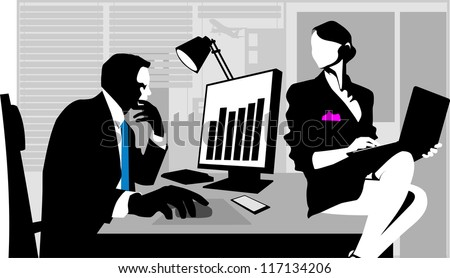 Office workers sitting at the table and working on computers; - stock vector