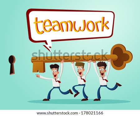 office workers working together inserting a key into the keyhole - stock vector