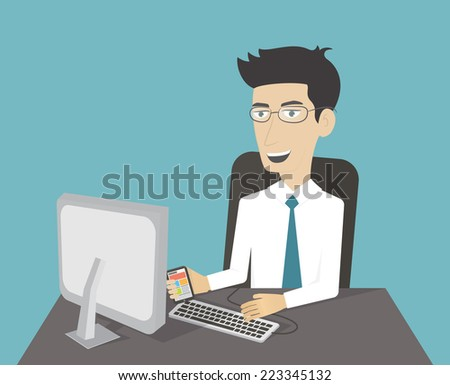 Office workplace. Business man working at computer. Cartoon character. Flat vector - stock vector