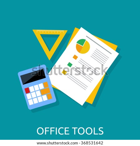 Office workplace. Calculator, ruler, book and paper page icon on an office desk. Flat icon modern design style concept. Office tools. Isolated office tools. Vector office tools  - stock vector