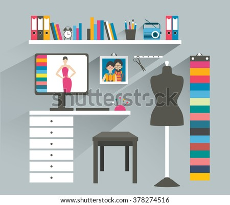 Office workplace. Fashion designer office. Flat design vector illustration. - stock vector