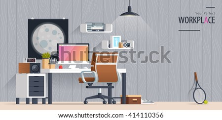 Office Workplace Flat Design Illustration Business Concept Objects Elements Equipment Room Interior