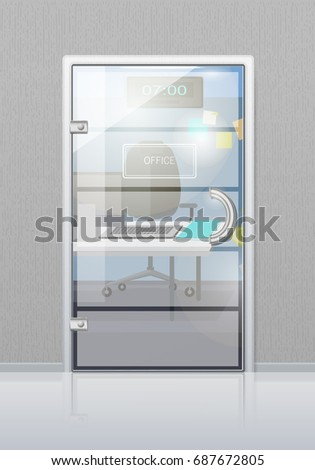 Office Workplace Through Glossy Glass Door Stock Vector 687672805
