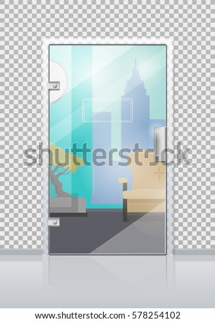 Office Workplace Through Glossy Glass Door View Flat Vector Modern Office Interior Design Illustration For