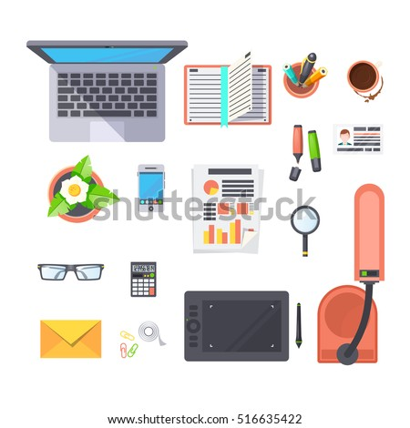 designer office desk isolated objects top view. office workplace top view objects set with laptop lamp and coffee flat isolated vector illustration designer desk