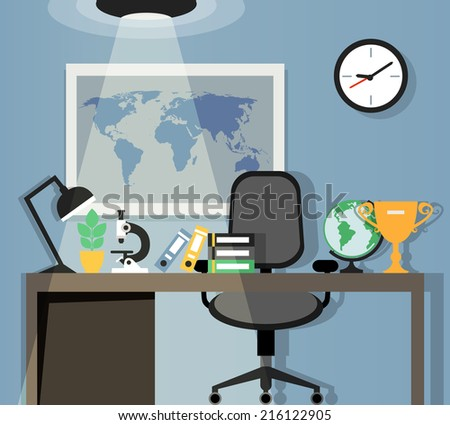 Office workplace table chair lamp world stock vector 216122905 office workplace with table chair lamp and world map on background flat design vector illustration gumiabroncs Gallery