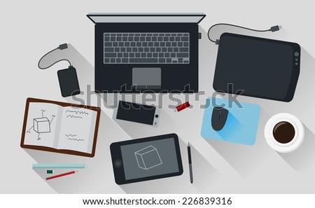 Office Workspace Computer Top View Flat Design - stock vector
