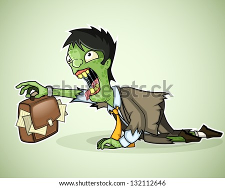Office zombie crawls with a briefcase in hand - stock vector