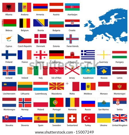 Official list of all European country flags and map. - stock vector