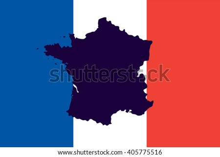 Official national flag of France and the country's geographical map - stock vector