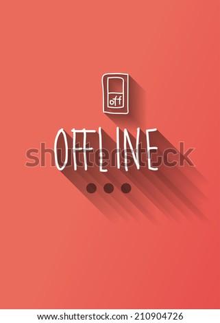 offline typo with shadow vector - stock vector
