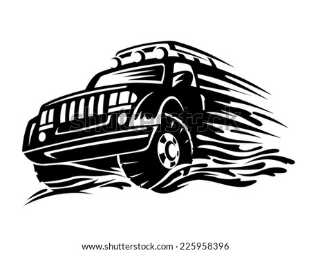 Offroad vehicle in black color for tattoo design - stock vector