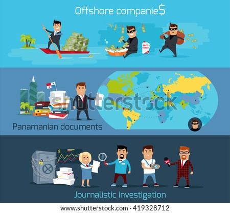 Offshore companies, panamanian documents, jornalistic inestigation. Panama papers folder document.  Tax haven offshore company business people owners. Taxes are levied at low rate. Vector illustration - stock vector