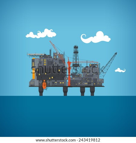 Offshore oil platform  in the  blue ocean. Helipad, cranes,  derrick, hull column, lifeboat, workshop, manifold, gas lift module, vector illustration - stock vector