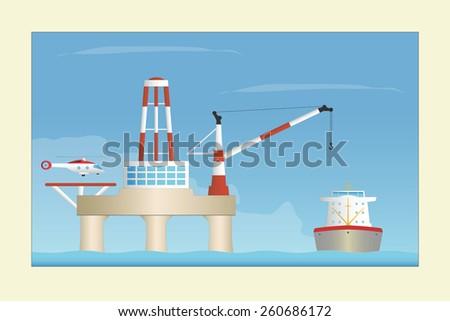Offshore platform. Vector illustration. EPS10. Opacity - stock vector