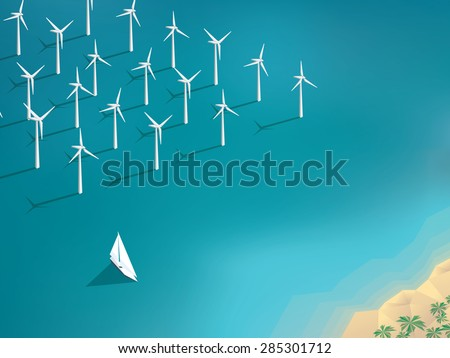 Offshore wind farm concept. Ecological background suitable for presentations. Eps10 vector illustration. - stock vector