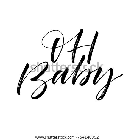 Oh baby phrase baby shower invitation stock photo photo vector oh baby phrase baby shower invitation card ink illustration modern brush calligraphy filmwisefo