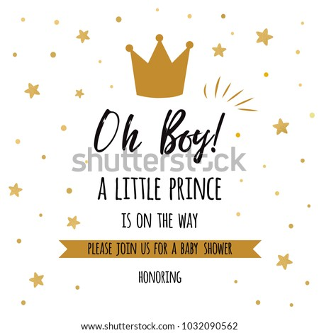 Oh Boy Little Prince Text Gold Stock Vector 2018 1032090562