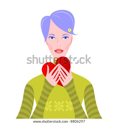 oh, thank you! very nice young girl with heart - stock vector