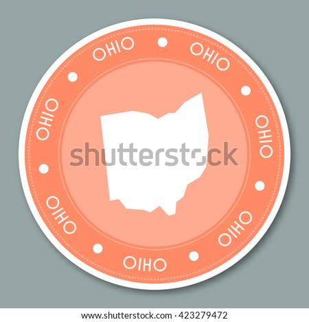 Ohio Label Flat Sticker Design Patriotic Us State Map Round Lable Round Badge Vector