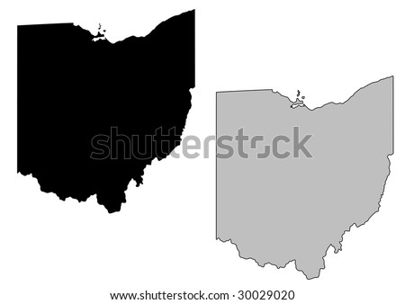Ohio map. Black and white. Mercator projection. - stock vector