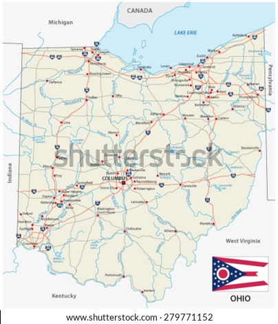 ohio road map with flag - stock vector